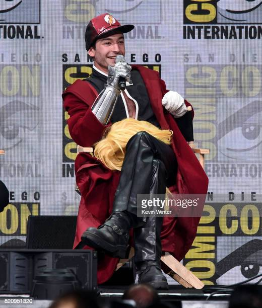 Actor Ezra Miller attends the Warner Bros Pictures Presentation during ComicCon International 2017 at San Diego Convention Center on July 22 2017 in...