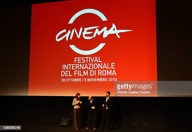 Actor Fabrizio Gifuni receives the 3 Social Movie Star Award from Carolina Di Domenico and Stefano Piastrelli at the Collateral Awards ceremony...