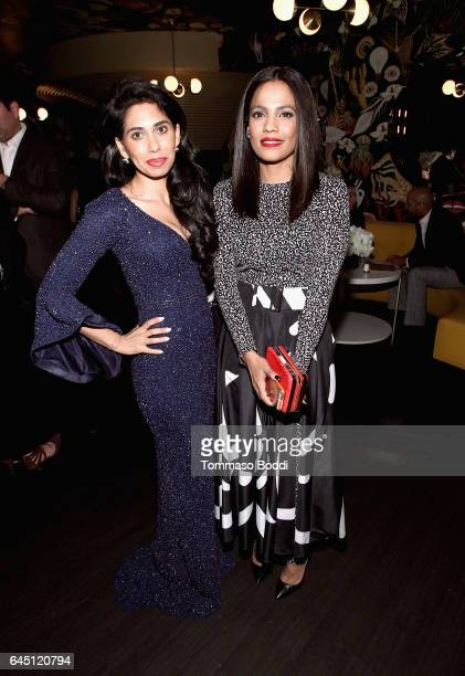 Actor Fagun Thakrar and Priyanka Bose wearing Max Mara attend the tenth annual Women in Film PreOscar Cocktail Party presented by Max Mara and BMW at...