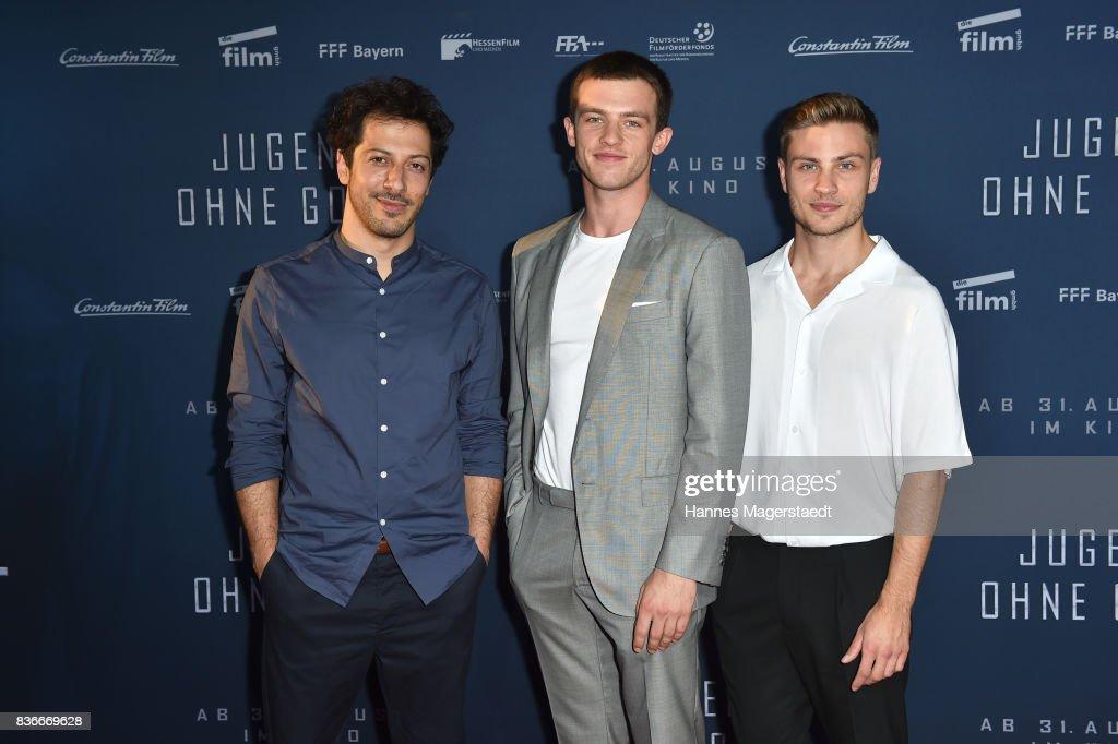 Actor Fahri Yardim, Jannis Niewoehner and Jannik Schuemann during the 'Jugend ohne Gott' premiere at Mathaeser Filmpalast on August 21, 2017 in Munich, Germany.