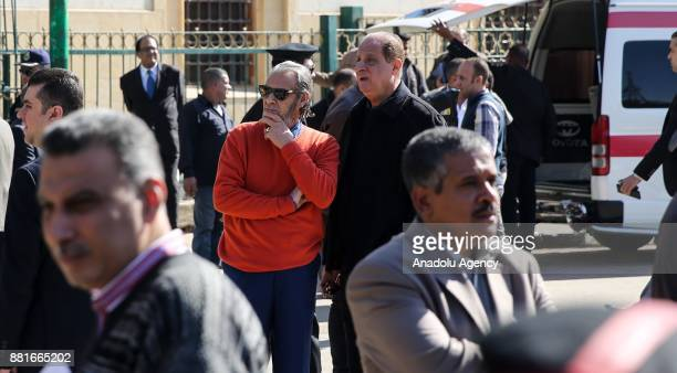 Actor Farouk AlFishawy attends the funeral ceremony of Egyptian actress and singer Shadia at the Sayyida Nafisa mosque in Cairo Egypt on November 29...