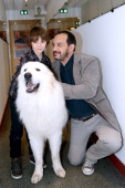 Actor Felix Bossuet actor who played Sebastien in the serie 'Belle et Sebastien' from 1965 Mehdi El Glaoui with the dog Berger present the movie...