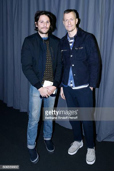 Actor Felix de Givry and Stylist Lucas Ossendrijver attend the Lanvin Menswear Fall/Winter 20162017 show as part of Paris Fashion Week on January 24...