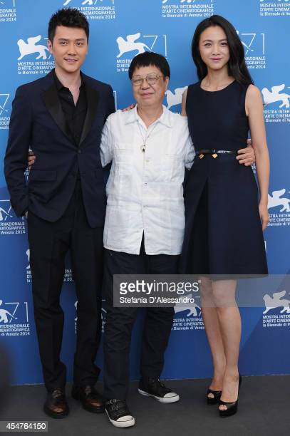 Actor Feng Shaofeng director Ann Hui and actress Tang Wei attend 'The Golden Era' Photocall during the at Palazzo Del Casino on September 6 2014 in...