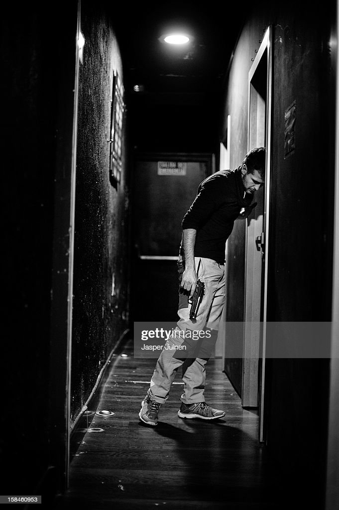 Actor Fernando Gomez waits backstage to enter his 'No Abortamos' micro theater show at the 'Micro Teatro por Dinero' on December 15, 2012 in Madrid, Spain. In November 2009, fifty artists presented a theatre project in the thirteen rooms of a former brothel, two weeks before its demolition, with each function lasting less than 10 minutes. The initiative was a huge success, with more people queueing up outside than could enter. Today's 'Micro Theatre For Money' is named after the former brothel on Ballesta Street, and offers a cheap and original way for going out at night, especially in times of financial hardship. With each show priced at 4 Euros, over 150,000 spectators have already attended performances at the tiny theatre in the Malasana area. Anyone can submit a project to be chosen to perform for a month in one of the five tiny rooms in the basement of the theatre, making it an ideal platform for young Spanish authors and actors, often unemployed, to perform.