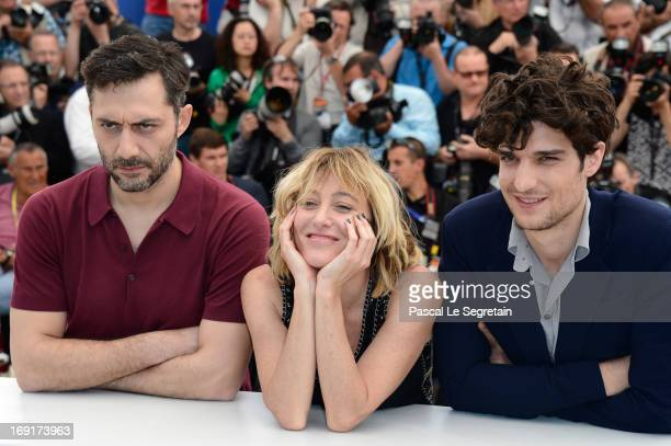 Actor Filippo Timi director Valeria Bruni Tedeschi and actor Louis Garrel attend the 'Un Chateau En Italie' Photocall during The 66th Annual Cannes...