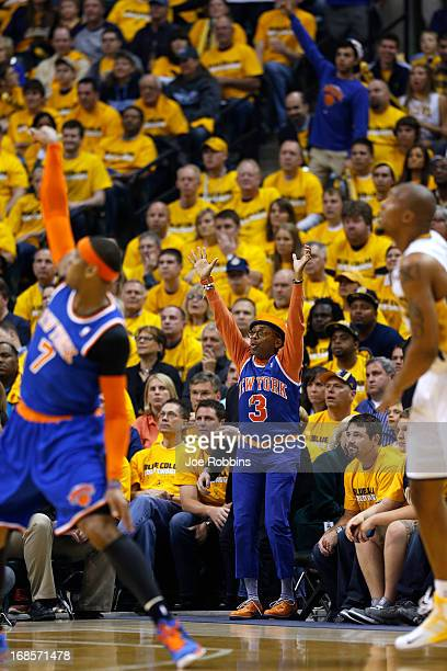 Actor film director and New York Knicks fan Spike Lee cheers against the Indiana Pacers during game three of the Eastern Conference Semifinals of the...