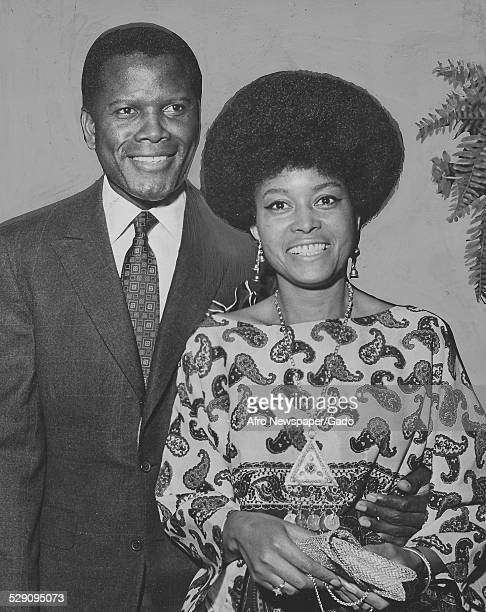 Actor film director author and diplomat Sidney Poitier and AfricanAmerican jazz vocalist songwriter and actress Abbey Lincoln standing July 13 1968