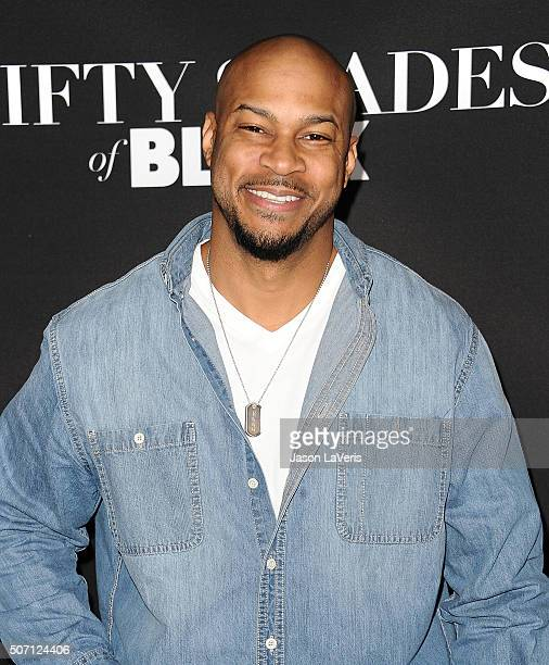 Actor Finesse Mitchell attends the premiere of 'Fifty Shades of Black' at Regal Cinemas LA Live on January 26 2016 in Los Angeles California