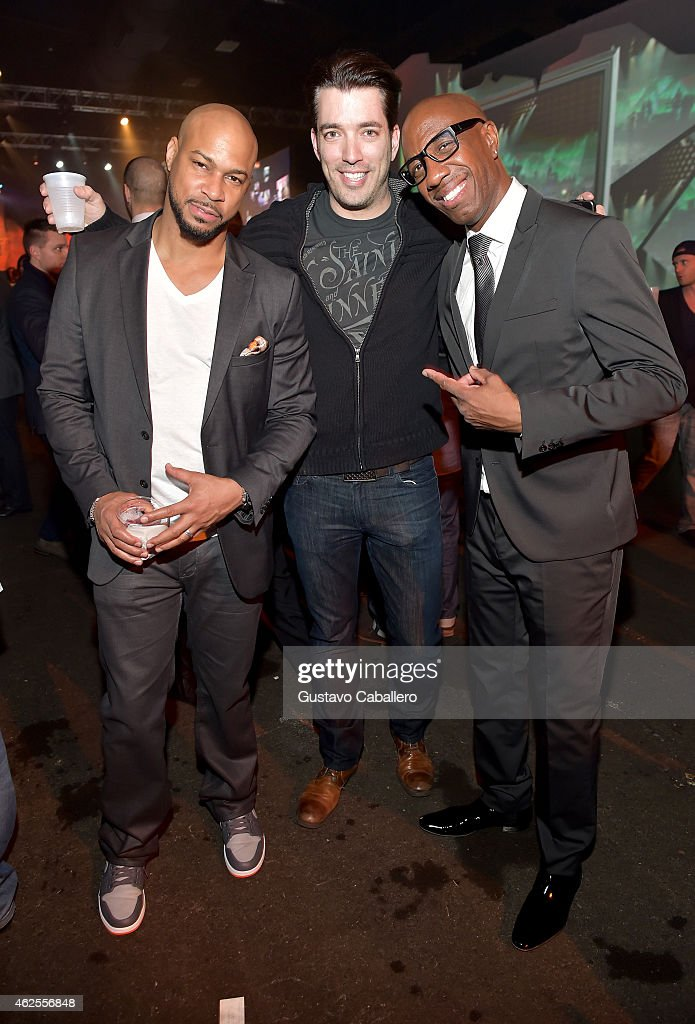 Actor Finesse Mitchell TV personality Jonathan Silver Scott and actor JB Smoove attend ESPN the Party at WestWorld of Scottsdale on January 30 2015...