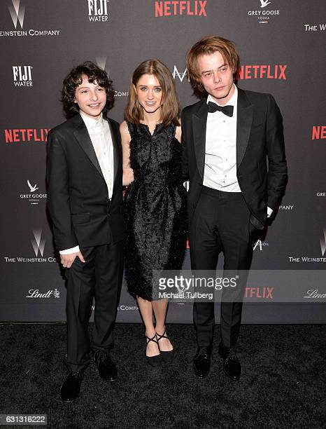 Actor Finn Wolfhard actress Natalia Dyer and actor Charlie Heaton attends The Weinstein Company and Netflix Golden Globe Party on January 8 2017 in...