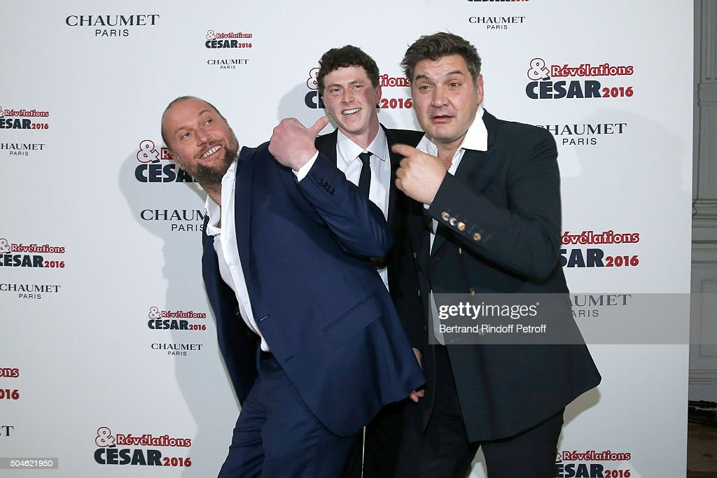 Actor Finnegan Oldfield (C), nominated for 'Les Cowboys', his sponsor Francois Damiens (L) and Director <a gi-track='captionPersonalityLinkClicked' href=/galleries/search?phrase=Thomas+Bidegain&family=editorial&specificpeople=6257351 ng-click='$event.stopPropagation()'>Thomas Bidegain</a> (R) attend the 'Cesar - Revelations 2016' Photocall at Chaumet, followed by a dinner at Hotel Meurice on January 11, 2016 in Paris, France.