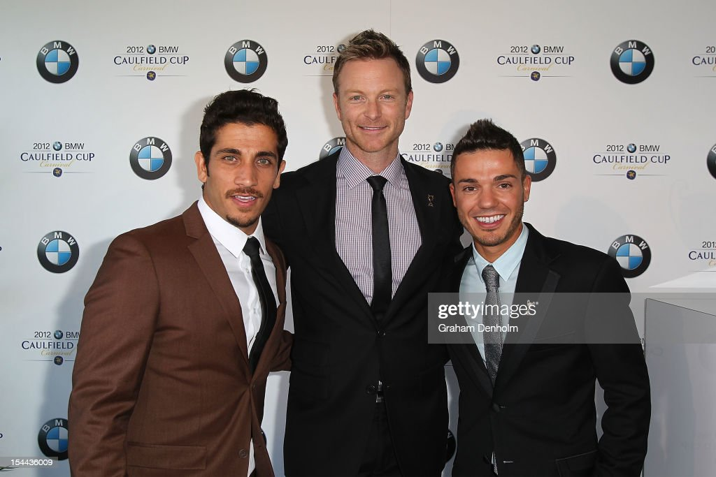 Actor Firass Dirani, Tim Campbell and Singer <a gi-track='captionPersonalityLinkClicked' href=/galleries/search?phrase=Anthony+Callea&family=editorial&specificpeople=207095 ng-click='$event.stopPropagation()'>Anthony Callea</a> attend Caulfield Cup Day at Caulfield Racecourse on October 20, 2012 in Melbourne, Australia.