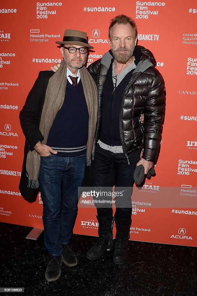 Actor Fisher Stevens and musician Sting attend the 'Sky Ladder: The Art Of Cai Guo-Qiang' Premiere during the 2016 Sundance Film Festival at The Marc Theatre on January 21, 2016 in Park City, Utah.