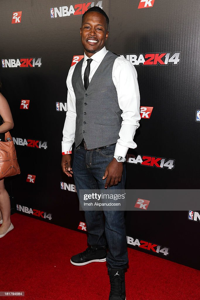 Actor Flex Alexander attends the premiere party for the NBA2K14 video game at Greystone Mansion on September 24, 2013 in Beverly Hills, California.