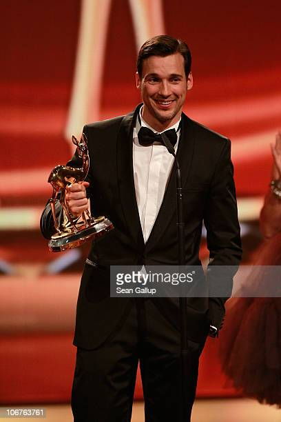 Actor Florian David Fitz receives the Best National Actor award during the Bambi 2010 Award Ceremony at Filmpark Babelsberg on November 11 2010 in...