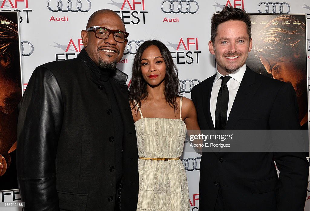 Actor <a gi-track='captionPersonalityLinkClicked' href=/galleries/search?phrase=Forest+Whitaker&family=editorial&specificpeople=226590 ng-click='$event.stopPropagation()'>Forest Whitaker</a>, actress <a gi-track='captionPersonalityLinkClicked' href=/galleries/search?phrase=Zoe+Saldana&family=editorial&specificpeople=542691 ng-click='$event.stopPropagation()'>Zoe Saldana</a>, and director Scott Cooper, attend the screening of 'Out of the Furnace' during AFI FEST 2013 presented by Audi at TCL Chinese Theatre on November 9, 2013 in Hollywood, California.