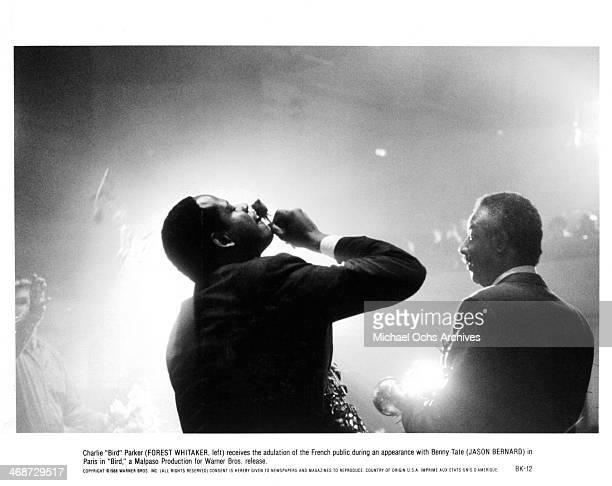 Actor Forest Whitaker and Jason Bernard on set of the Warner Bros movie 'Bird' circa 1988