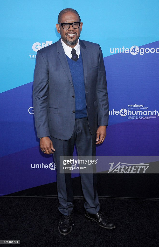 Actor <a gi-track='captionPersonalityLinkClicked' href=/galleries/search?phrase=Forest+Whitaker&family=editorial&specificpeople=226590 ng-click='$event.stopPropagation()'>Forest Whitaker</a> arrives at the 1st Annual Unite4:humanity event hosted by Unite4good and Variety at Sony Studios on February 27, 2014 in Los Angeles, California.