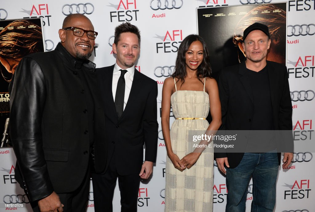 Actor <a gi-track='captionPersonalityLinkClicked' href=/galleries/search?phrase=Forest+Whitaker&family=editorial&specificpeople=226590 ng-click='$event.stopPropagation()'>Forest Whitaker</a>, director Scott Cooper, actress <a gi-track='captionPersonalityLinkClicked' href=/galleries/search?phrase=Zoe+Saldana&family=editorial&specificpeople=542691 ng-click='$event.stopPropagation()'>Zoe Saldana</a>, and actor <a gi-track='captionPersonalityLinkClicked' href=/galleries/search?phrase=Woody+Harrelson&family=editorial&specificpeople=208923 ng-click='$event.stopPropagation()'>Woody Harrelson</a> (L) and <a gi-track='captionPersonalityLinkClicked' href=/galleries/search?phrase=Forest+Whitaker&family=editorial&specificpeople=226590 ng-click='$event.stopPropagation()'>Forest Whitaker</a> attend the screening of 'Out of the Furnace' during AFI FEST 2013 presented by Audi at TCL Chinese Theatre on November 9, 2013 in Hollywood, California.