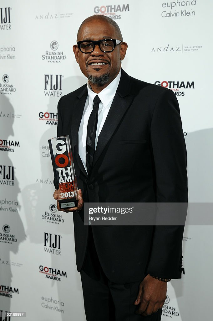 Actor Forest Whitaker poses with an award at the 2013 Gotham Independent Film Awards Sponsored by FIJI Water on December 2, 2013 in New York City.