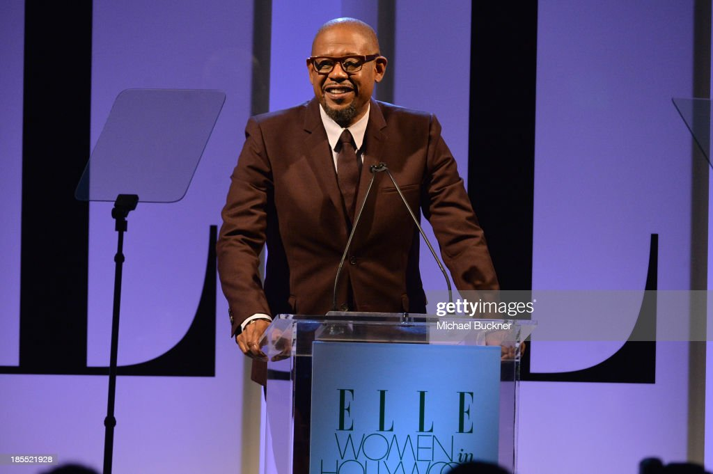 Actor <a gi-track='captionPersonalityLinkClicked' href=/galleries/search?phrase=Forest+Whitaker&family=editorial&specificpeople=226590 ng-click='$event.stopPropagation()'>Forest Whitaker</a> speaks onstage at ELLE's 20th Annual Women In Hollywood Celebration at Four Seasons Hotel Los Angeles at Beverly Hills on October 21, 2013 in Beverly Hills, California.