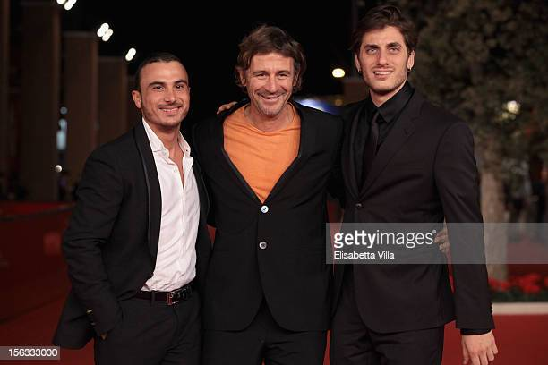 Actor Francesco di Leva director Corrado Sassi and actor Luca Marinelli attend the 'Waves' Premiere during the 7th Rome Film Festival at the...