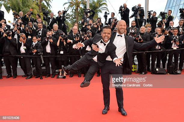 Actor Franck Gastambide and guest attend the 'Money Monster' premiere during the 69th annual Cannes Film Festival at the Palais des Festivals on May...