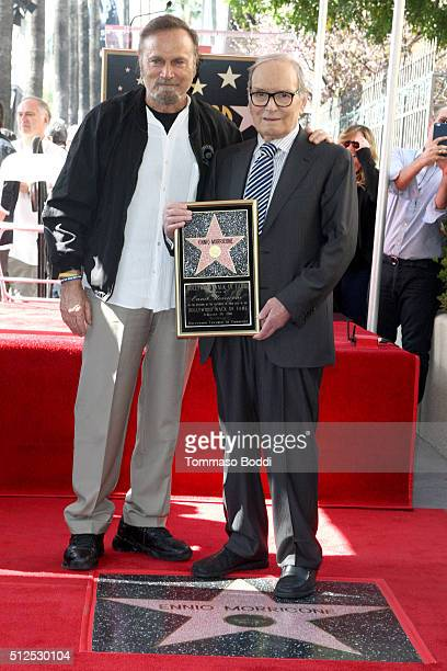 Actor Franco Nero and composer Ennio Morricone attend a ceremony honoring composer Ennio Morricone wtih a star on The Hollywood Walk Of Fame on...