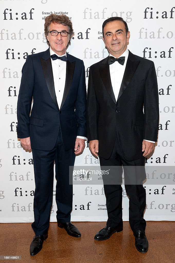Actor <a gi-track='captionPersonalityLinkClicked' href=/galleries/search?phrase=Francois+Cluzet&family=editorial&specificpeople=626602 ng-click='$event.stopPropagation()'>Francois Cluzet</a> (L) and Renault-Nissan Alliance Chairman and CEO <a gi-track='captionPersonalityLinkClicked' href=/galleries/search?phrase=Carlos+Ghosn&family=editorial&specificpeople=215025 ng-click='$event.stopPropagation()'>Carlos Ghosn</a> attend the 2013 Trophee Des Arts gala on November 15, 2013 in New York City.