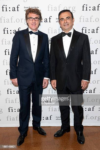 Actor Francois Cluzet and RenaultNissan Alliance Chairman and CEO Carlos Ghosn attend the 2013 Trophee Des Arts gala on November 15 2013 in New York...