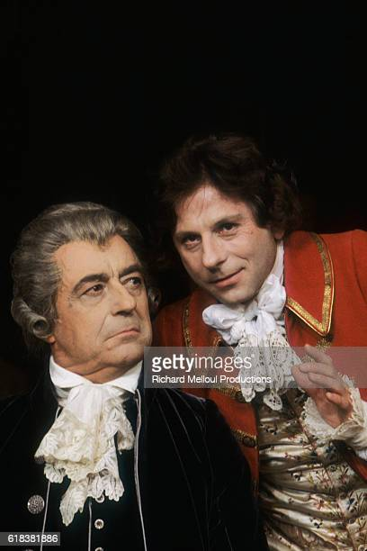 Actor Francois Perier and director and actor Roman Polanski perform a scene from Peter Shaffer's play Amadeus Polanski stars as Mozart and directs...