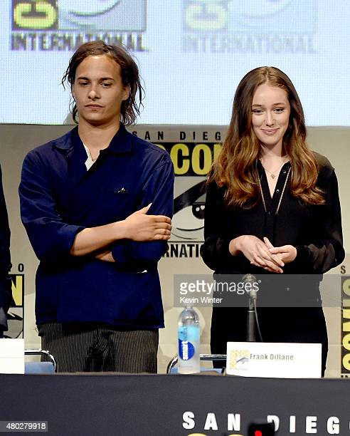 Actor Frank Dillane and actress Alycia DebnamCarey speak onstage at AMC's 'Fear the Walking Dead' panel during ComicCon International 2015 at the San...
