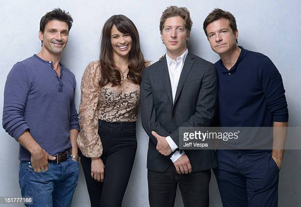 Actor Frank Grillo actress Paula Patton director Henry Alex Rubin and actor Jason Bateman of 'Disconnect' pose at the Guess Portrait Studio during...