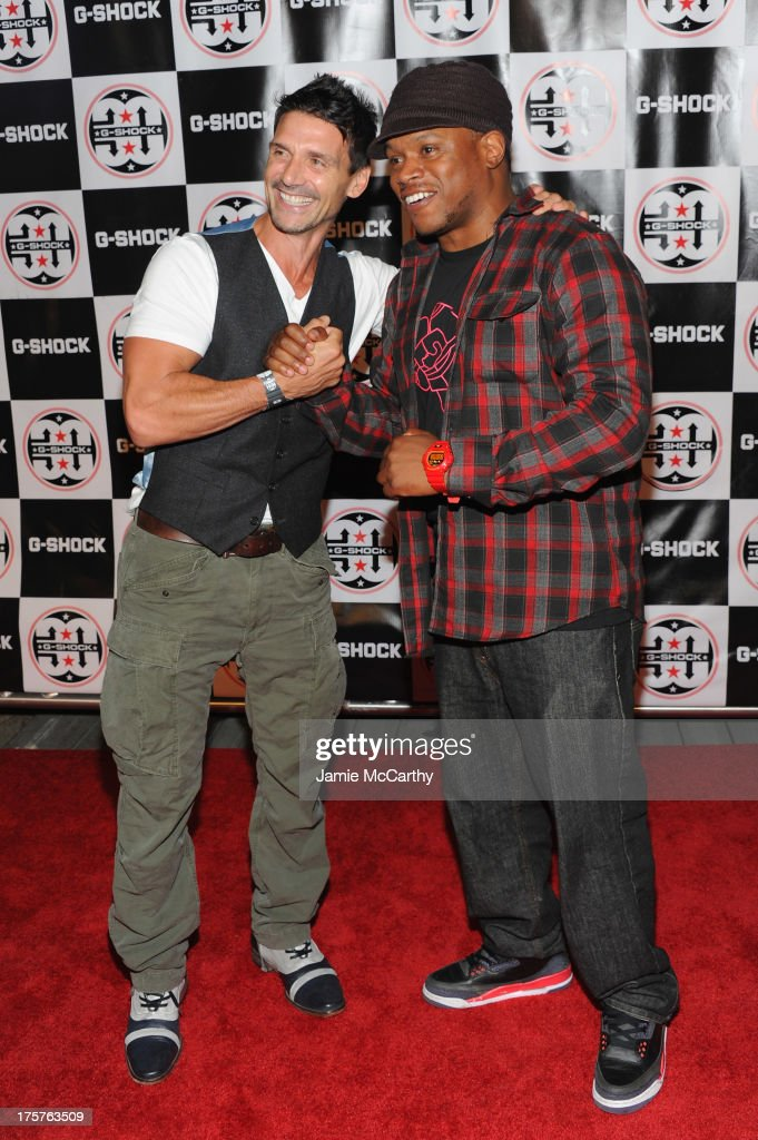 Actor Frank Grillo (L) and Sway attend G-Shock Shock The World 2013 at Basketball City on August 7, 2013 in New York City.