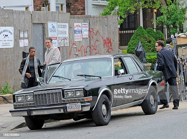Actor Frank Whaley Adam Terese and Samira Wiley on the set of 'Rob The Mob' on May 22 2013 in New York City