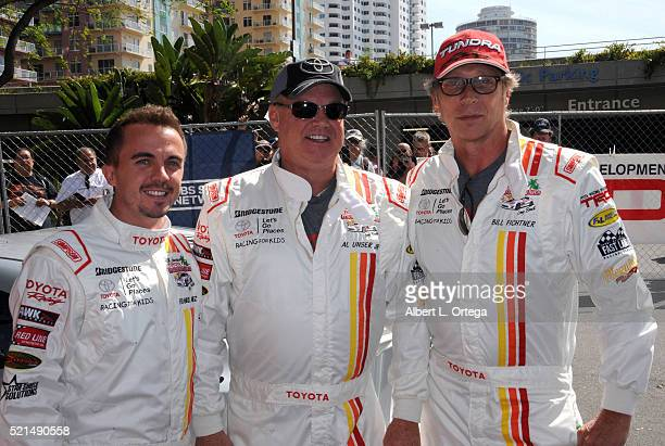 Actor Frankie Muniz racer Al Unser Jr and actor William Fichtner at the 42nd Toyota Pro/Celebrity Race Qualifying Day on April 15 2016 in Long Beach...