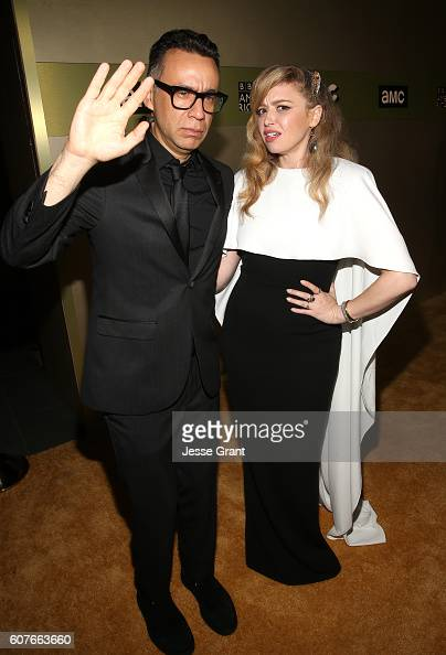 Actor Fred Armisen and actress Natasha Lyonne attend AMC Networks Emmy Party at BOA Steakhouse on September 18 2016 in West Hollywood California