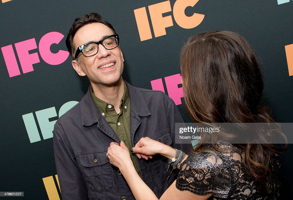 Actor Fred Armisen and President of IFC Jennifer Caserta attend the 2014 IFC Upfront at Roseland Ballroom on March 20 2014 in New York City