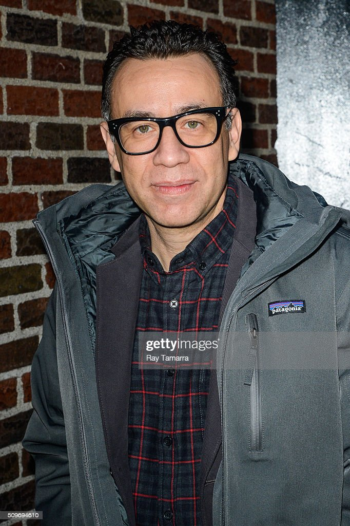 Actor Fred Armisen enters 'The Late Show With Stephen Colbert' taping at the Ed Sullivan Theater on February 11 2016 in New York City