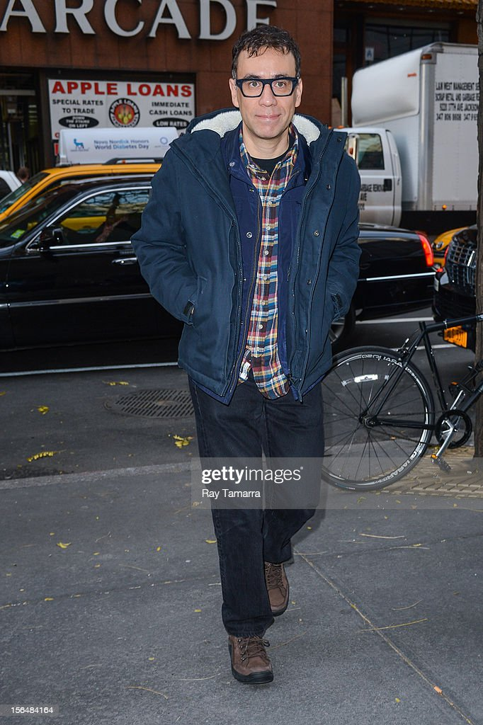 Actor <a gi-track='captionPersonalityLinkClicked' href=/galleries/search?phrase=Fred+Armisen&family=editorial&specificpeople=221426 ng-click='$event.stopPropagation()'>Fred Armisen</a> enters the 'Today Show' taping at the NBC Rockefeller Center Studios on November 15, 2012 in New York City.