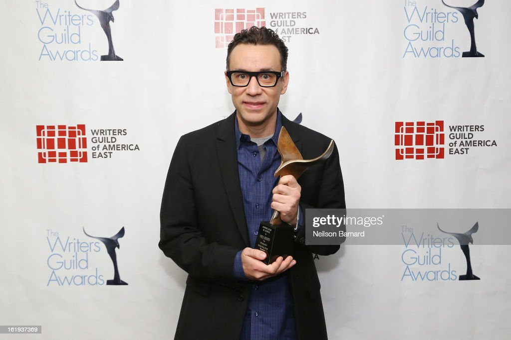 Actor <a gi-track='captionPersonalityLinkClicked' href=/galleries/search?phrase=Fred+Armisen&family=editorial&specificpeople=221426 ng-click='$event.stopPropagation()'>Fred Armisen</a> poses backstage at the 65th annual Writers Guild East Coast Awards at B.B. King Blues Club & Grill on February 17, 2013 in New York City.