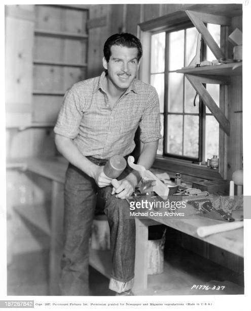 Actor Fred MacMurray on set of the movie 'Virginia' in 1941
