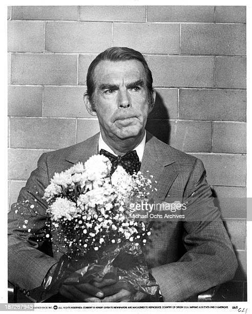 Actor Fred MacMurray on set of the Warner Bros movie 'The Swarm' in 1978