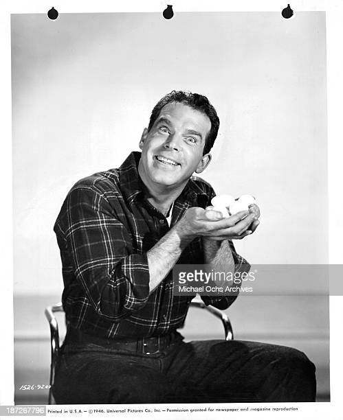 Actor Fred MacMurray poses for the Universal movie 'The Egg and I' in 1947