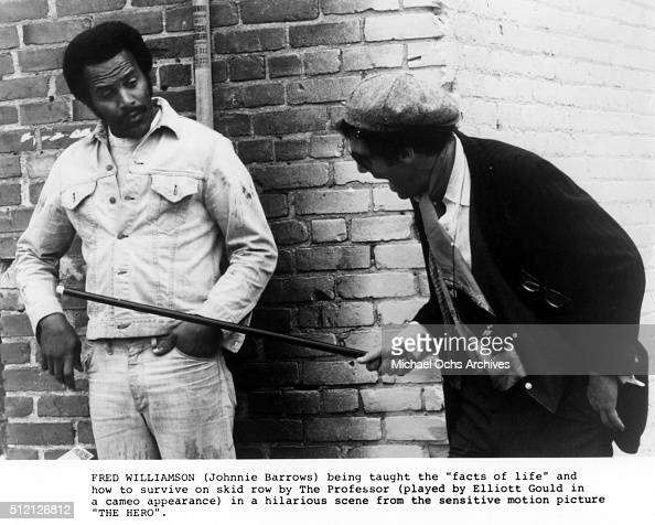 Actor Fred Williamson and Elliott Gould in a scene from the movie 'Mean Johnny Barrows' which was released in January 2016
