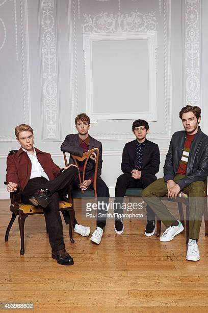 109772010 Actor Freddie Fox Luke Newberry Graig Roberts and Dominic Sherwood are photographed for Madame Figaro on April 28 2014 in London England...