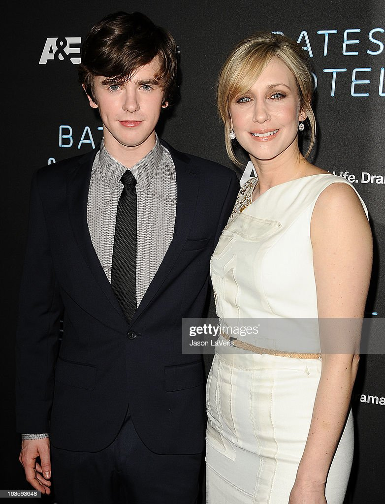 Actor <a gi-track='captionPersonalityLinkClicked' href=/galleries/search?phrase=Freddie+Highmore&family=editorial&specificpeople=210834 ng-click='$event.stopPropagation()'>Freddie Highmore</a> and actress <a gi-track='captionPersonalityLinkClicked' href=/galleries/search?phrase=Vera+Farmiga&family=editorial&specificpeople=227012 ng-click='$event.stopPropagation()'>Vera Farmiga</a> attend the premiere of 'Bates Motel' at Soho House on March 12, 2013 in West Hollywood, California.