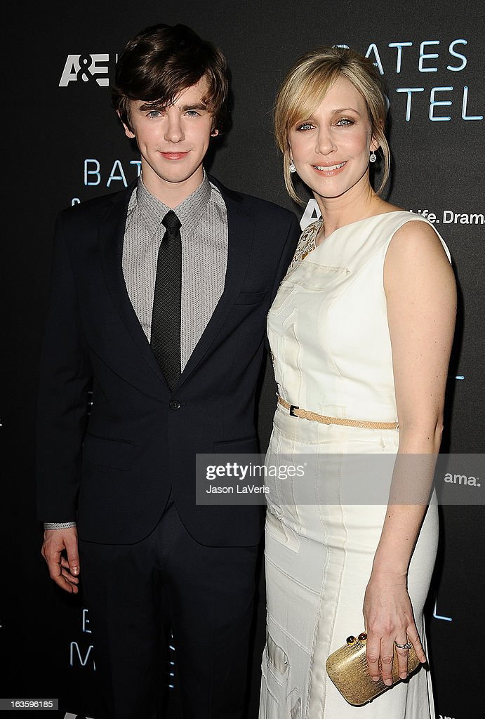 Actor Freddie Highmore and actress Vera Farmiga attend the premiere of 'Bates Motel' at Soho House on March 12, 2013 in West Hollywood, California.
