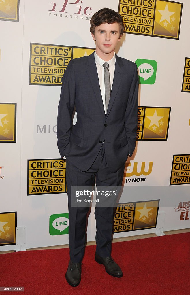 Actor Freddie Highmore arrives at the 4th Annual Critics' Choice Television Awards at The Beverly Hilton Hotel on June 19 2014 in Beverly Hills...